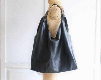 black soft leather hobo bag | simple leather tote