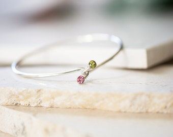 Tourmaline Hug Bangle - Pink Tourmaline and Peridot Dual Stone Bracelet, Modern Prairie, Birthstone Jewelry by Prairieoats