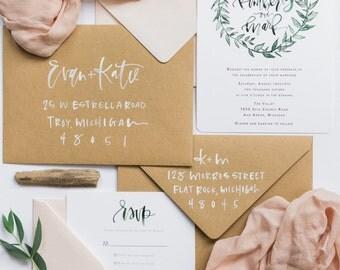 Watercolor Wreath Calligraphy Wedding Invitation Suite