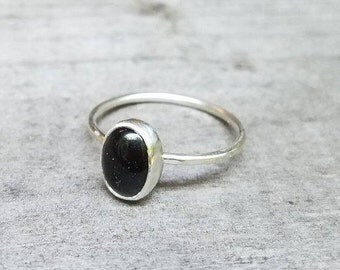 Onyx and Sterling Stacking Ring  Custom Sized  Minimalist Jewelry Black Gemstone Stackable Ring