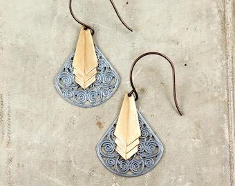 Art Deco Earrings, Brass Chevron Earrings, Silver and Gold, Antiqued Silver Filigree Earrings, Geometric Earrings, Gift for Her
