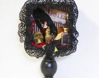 Gothic Shadow Box - Gothic CanCan Dancer - Assemblage Shadow Box - Burlesque