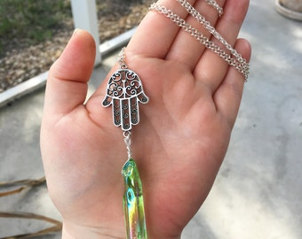 Green Crystal Necklace, Aura Quartz Necklace, Hamsa Hand Necklace, Wire Wrapped Necklace, Green Quartz Necklace, Hamsa Handmade Necklace