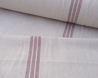Grain Sack Fabric Red Stripe Vintage Inspired Sold By The Yard Feed Sack Fabric Flour Sack Fabric Gunny Sack Fabric Grain Sack Reproduction