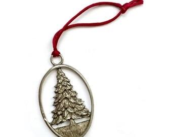 Vintage Pewter Ornament, Pewter Evergreen Tree Christmas Ornament, Etain Zinn Pewter Ornament, Fir Tree Ornament, 1992 Pewter Ornament,