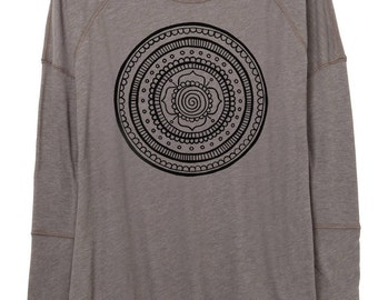 Womens Longsleeve Eco Gauze Tunic - Womens Top- Cotton - Recycled Polyester - Heather Grey Long Sleeve - Small, Medium, Large, XL