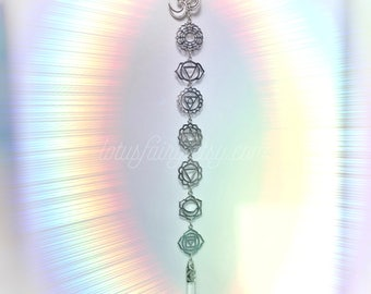 Sun catcher Crystal Chakra and Om symbol window hanger, meditation room, decoration