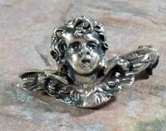 Mid Century Antique Cherub Angel Pin Silver Marked 800 BAS Italy European Made Silver Small Angelic Cherub Pin Sweet Little Guardian Angel