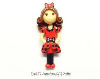 Ladybug Girl Figurine, Ornament, Pendant Charm, Purse Charm, Cold Porcelain Clay Bow Center, Magnet, Brooch, Gift /DIY Necklace, Jewelry