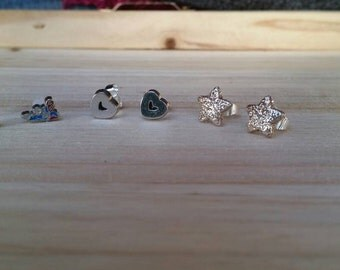 Mini Superman Charm earrings, Heart Post Earrings, Star Stud Earrings - Post earrings - girls post earrings - superhero jewelry
