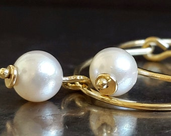 Pearl Earrings, Akoya White Pearls, 14K Gold Hoops, Yellow Gold , Genuine Japanese Pearls, Perfectly Matched Round Pearls, Classic Earrings