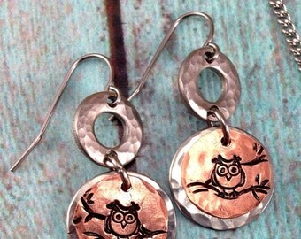 Owl Earrings - handstamped copper with Stainless Steel Washers - Animals - Nature
