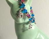 "Snoopy Charm Bracelet & Earrings Set, Pink, Blue Bracelet, Ideal for Little Ladies and Up, Sizes 4"" to 8"" in Length"