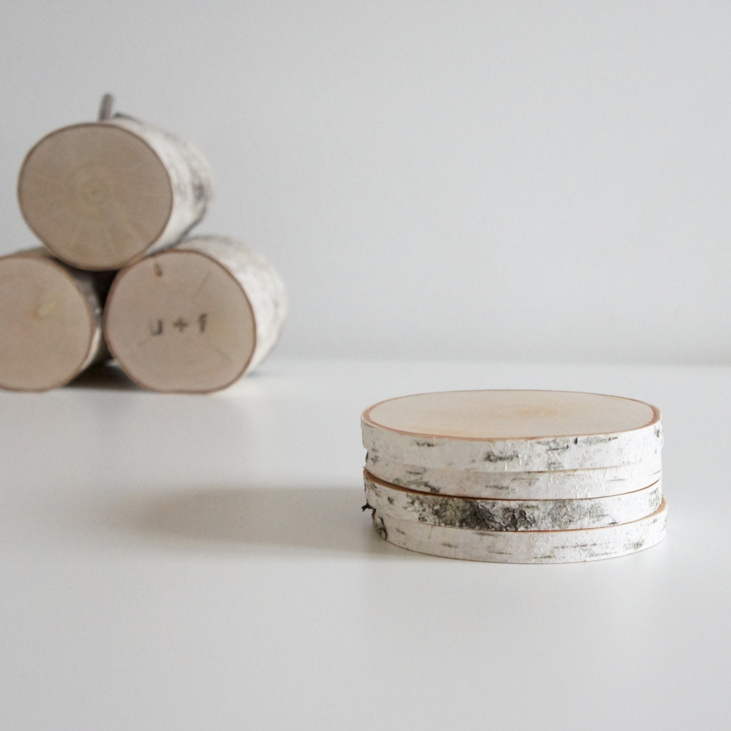 White birch wood coasters set of 4 birch coasters wooden for Berch wood