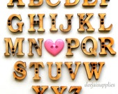 Alphabet Buttons Letters A-Z in Unfinished Wood (Set of 26)