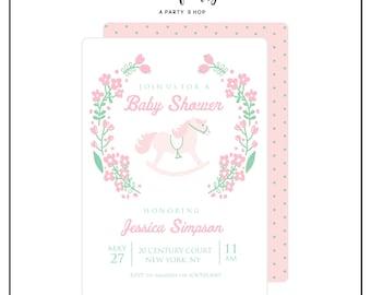 Rocking Horse Invitation -  Baby Shower Invitation - Girl Baby Shower Invite // RHG - 01