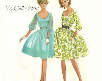Party Dress Pattern 1960s Bust 32 Unused McCall's 7186 Easy to Sew Size 12