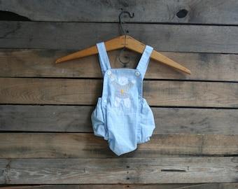SUPER SALE - Vintage Unisex Children's Blue Plaid Bathing Suit With Bear Size Newborn