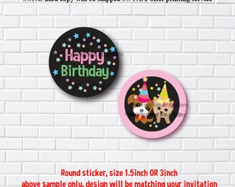 Reserved for someone purchased invitation - ADD ON option, Matching round deisgn, use for cupcake topper or round sticker, Thank you label