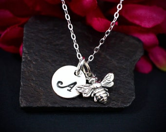 Sale ~ Personalized Tiny Bee Necklace Sterling Silver | Honeybee Necklace | Bee Charm Necklace | Bumble Bee Necklace | Queen Bee Necklace