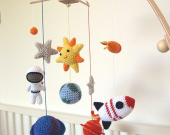 Outer Space Mobile, Solar System Baby Mobile, Space Nursery Mobile with Crochet Sun, Stars, Planets, Earth, Astronaut, Rocket, Fireball