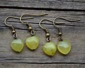 New Jade Hearts . Earrings