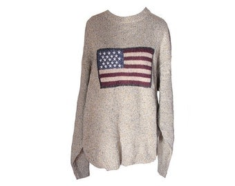 Vintage American Flag Sweater Gray Knit Size Large