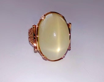 Giant Star Peach Moonstone In Filigree Rose Gold Cocktail Ring 34.17ct. Size 8