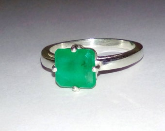 Natural Emerald In Sterling Silver Ring,  1.4ct. Size 7