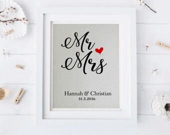 Mr. and Mrs. Print • Personalized Wedding Gift • Gift for Newlyweds • Wedding Sign • Couples Anniversary Gift • Gift for Her • Gift for Him