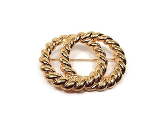 Napier Vintage Brooch Double Circles Twisted Round Gold Tone Retro Fashion Pin