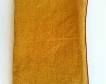 Long Linen Pouch in Ochre, Zipper Pouch