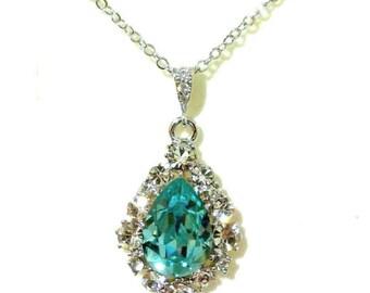 Something Blue Necklace, Turquoise Necklace, Drop Necklace, Swarovski Crystal Bridesmaid Necklace, Bridesmaid Gift, Birthday Gift, BIJOUX