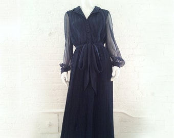 Navy Blue Maxi Dress 60s Vintage Miss Elliette Chiffon Prom Dress Sheer Pleated Skirt Large 1960s Hostess Evening Formal Ball Gown 1970s