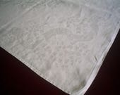 Vintage Irish Linen Damask Tablecloth with Maidenhair Ferns and Ribbons 122 Inches Long