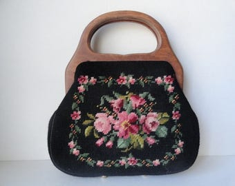 Vintage Black Needlepoint Handbag|Wood Handle Needlepoint Purse|Pink floral Needlepoint Handbag|Vintage Peti Point Handbag|Victorian Bag