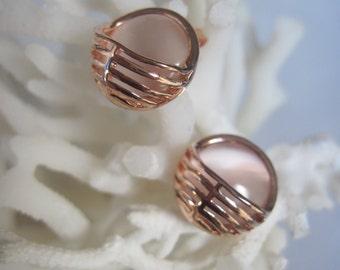 Rose Gold Half Basket Acrylic Moon Stone Stud Earrings