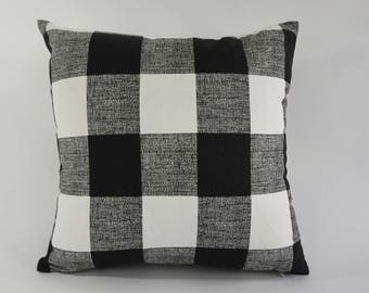 SET OF TWO Decorative Throw Pillow Black and White Buffalo Check Print Medium Weight Cotton