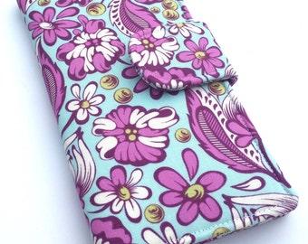 Women's Wallet, Fabric Clutch Wallet, Vegan Wallet, Aqua and Purple Flowers
