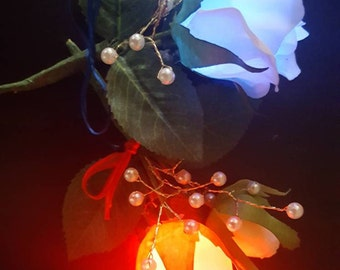 LED Boutonniere Flower with Pearls - Light up any Dance - Wedding - Prom - Turnabout - Homecoming