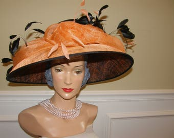 High Fashion Hat by Famous Designer, Nigel Rayment, Milliner to the Queen This High Fashion Orange & Black Derby Day Spectacular is Wowzah!!