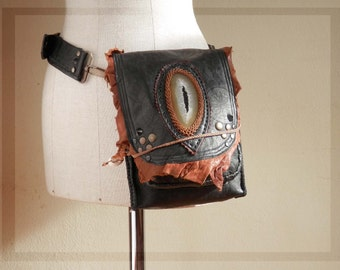 On sale MAGMA 203⎜Versatile leather utility belt with gemstone⎜Tribal utility belt⎜ Dystopia Post apocalyptic bag⎜Burning man festival bag