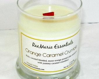 NEW Orange Caramel Crumble 9oz. Wood Wick Candle