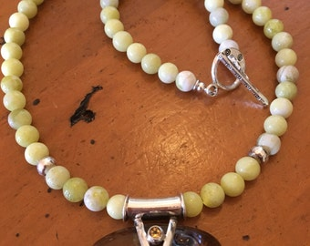 ॐCrystal Blissॐ Lemon Jade Necklace with Amber Pendant Set in Sterling Silver