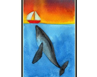 Sunset Whale Ocean, Sailboat, Watercolor Painting, Digital Download, Clip Art, Wall Art, Scrapbooking
