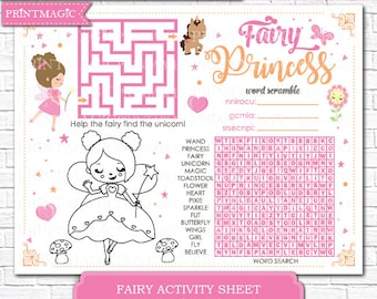 Fairy Princess Party Printable Activity - 5 Fairy Options Included - Instant Download Printable Fairy Party Game - Kids Fairy Party Activity