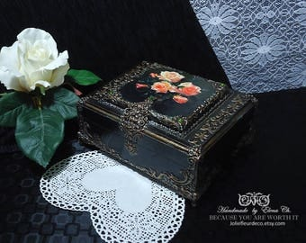 Antique jewelry box Wood jewelry storage Handcrafted jewelry box with roses Antique home decoration Handmade box Distressed black gold box