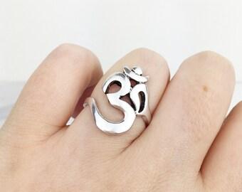 Ohm Ring - Silver Ohm Om Aum Symbol Yoga Meditation Buddha Jewelry