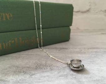 Tea cup charm necklace, English teacup necklace, gift for tea lover, gift for coffee lover, anglophile, british tea, tea jewellery etsy uk