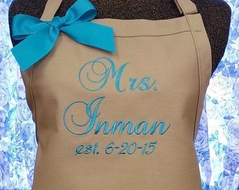 Personalized Twill Apron Kitchen Cooking Bride Gift